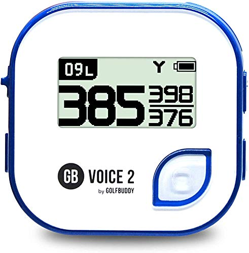 Golf Buddy Voice 2 Golf Rangefinder Talking Golf Gps Devices For Hat, Golf Distance Range Finder For Golfers, 14 Hours Battery Life, Water Resistant , Golf Accessories For Men And Women, White/Blue